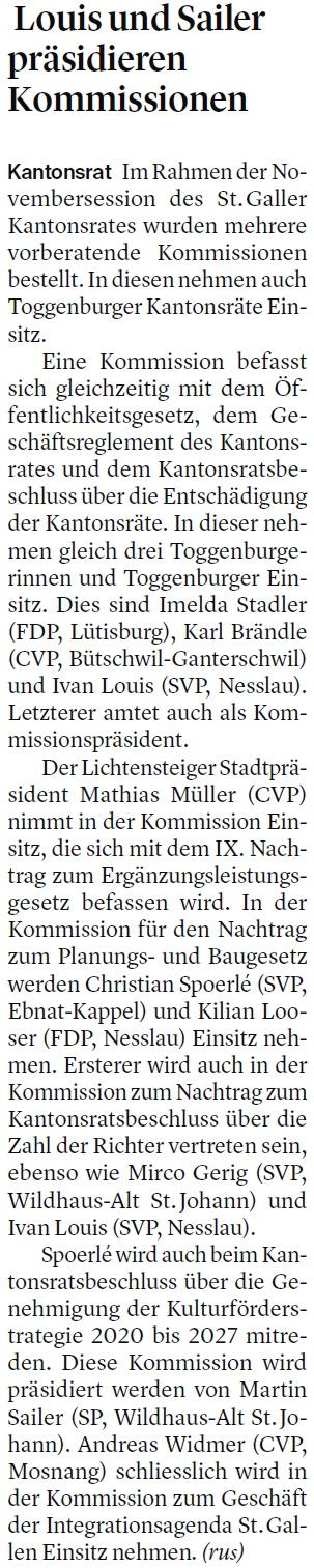 Louis und Sailer präsidieren Kommissionen (Mittwoch, 27.11.2019)