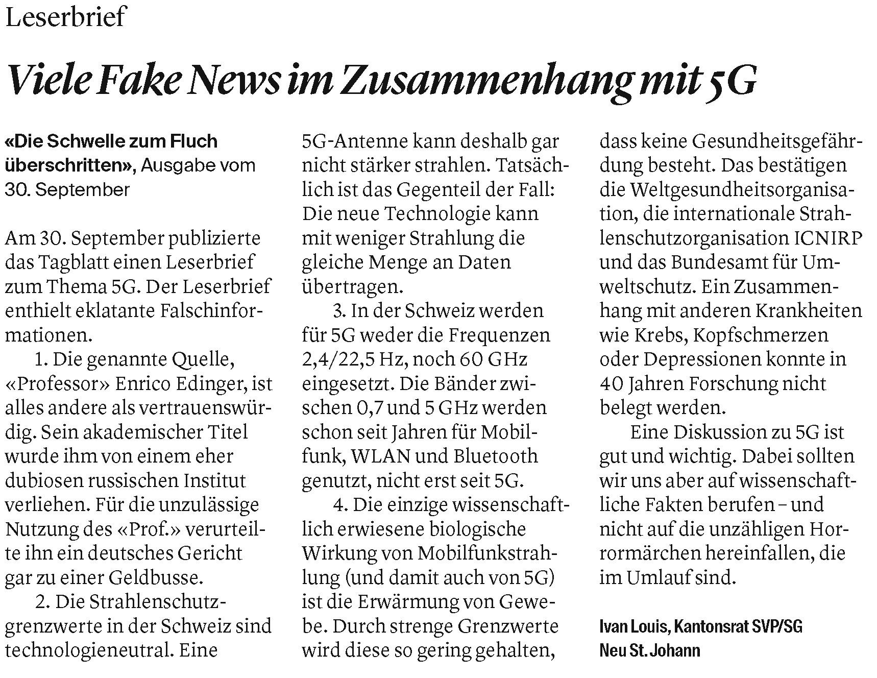 Viele Fake News im Zusammenhang mit 5G (Samstag, 10.10.2020)
