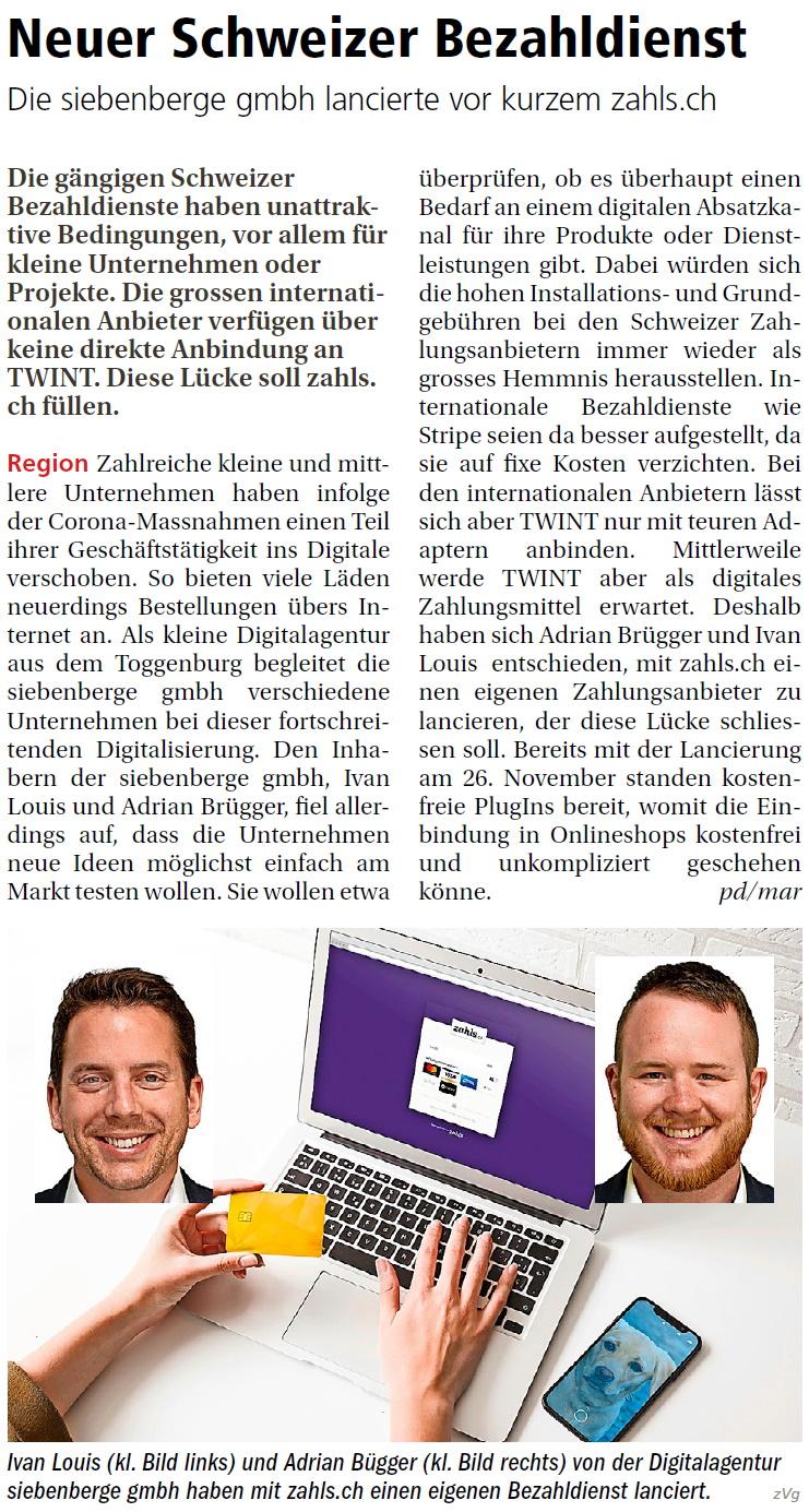 Neuer Schweizer Bezahldienst (Mittwoch, 02.12.2020)
