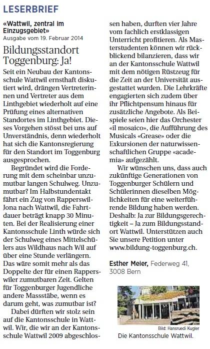 Bildungsstandort Toggenburg: Ja! (Mittwoch, 26.02.2014)