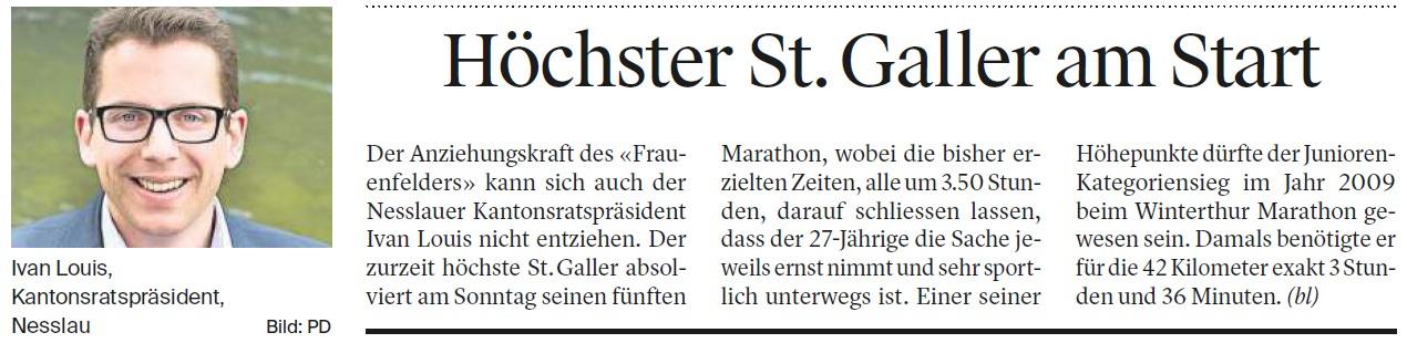 Höchster St. Galler am Start (Donnerstag, 16.11.2017)
