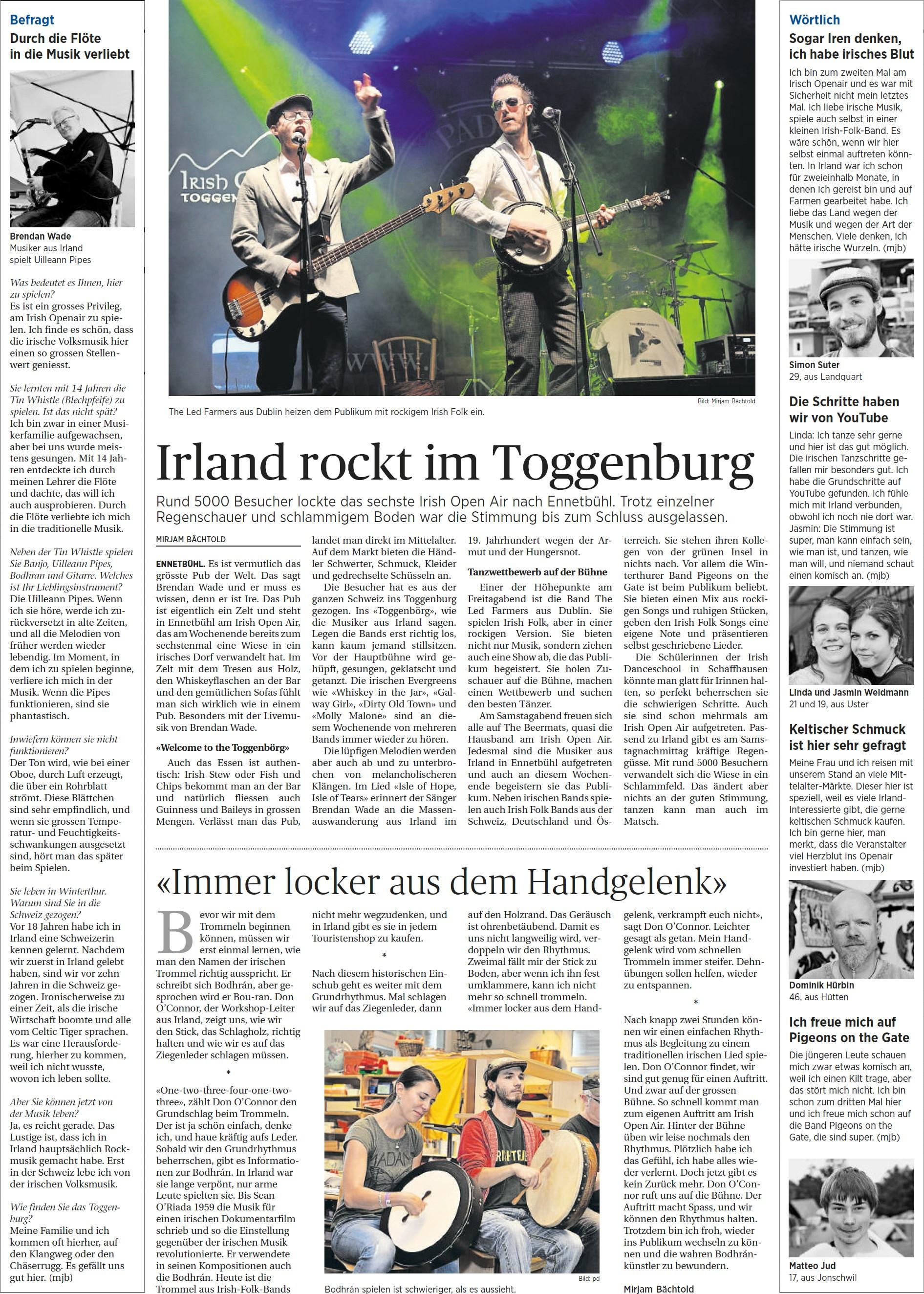 Irland rockt im Toggenburg (Montag, 08.09.2014)