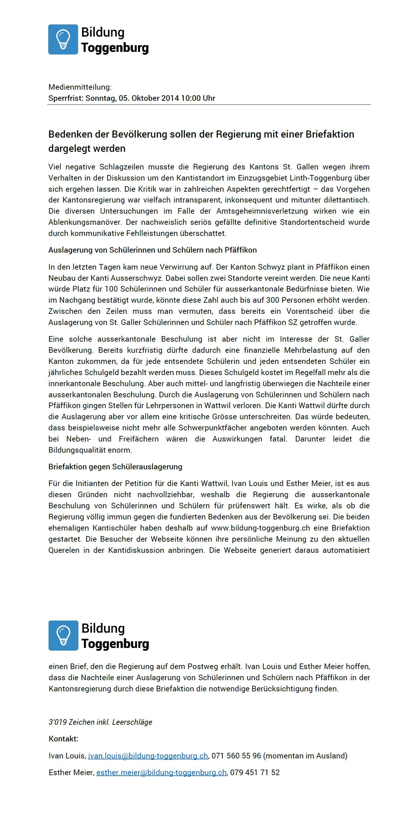 Medienmitteilung Kanti Wattwil: Bedenken der Bevölkerung sollen der Regierung mit einer Briefaktion dargelegt werden (Sonntag, 05.10.2014)