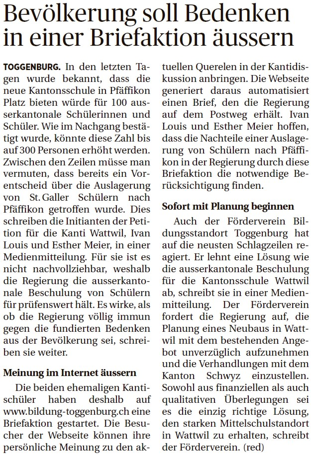 Bevölkerung soll Bedenken in einer Briefaktion äussern (Montag, 06.10.2014)