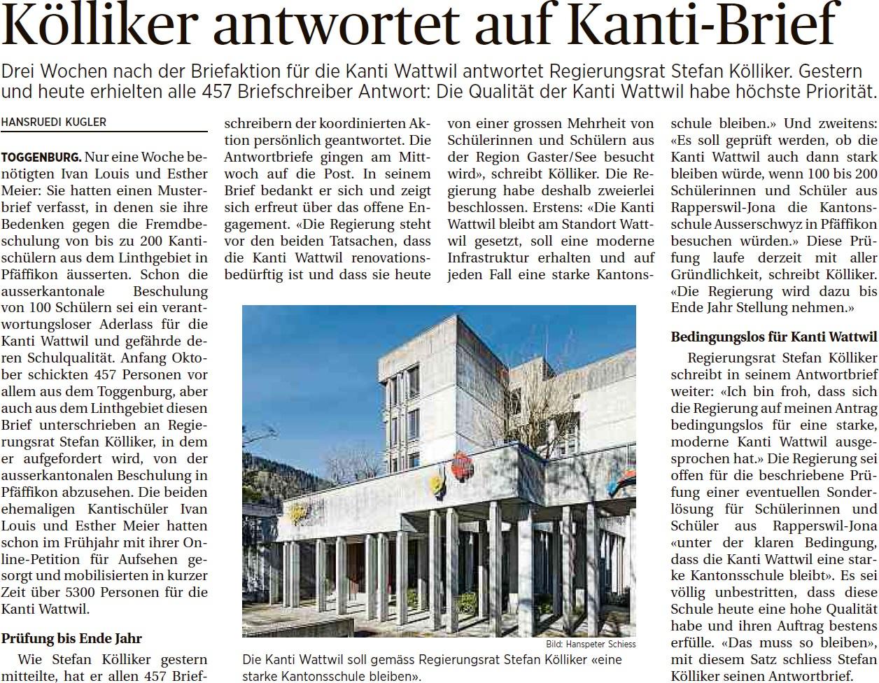 Stefan Kölliker antwortet auf Kanti-Brief (Freitag, 31.10.2014)