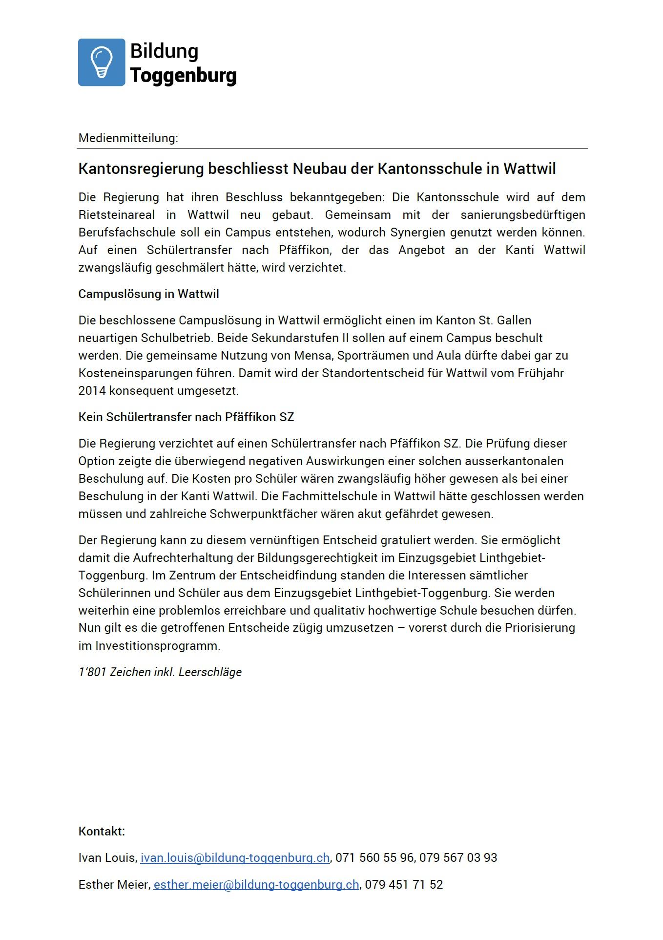 Medienmitteilung: Neubau der Kantonsschule in Wattwil (Montag, 30.03.2015)