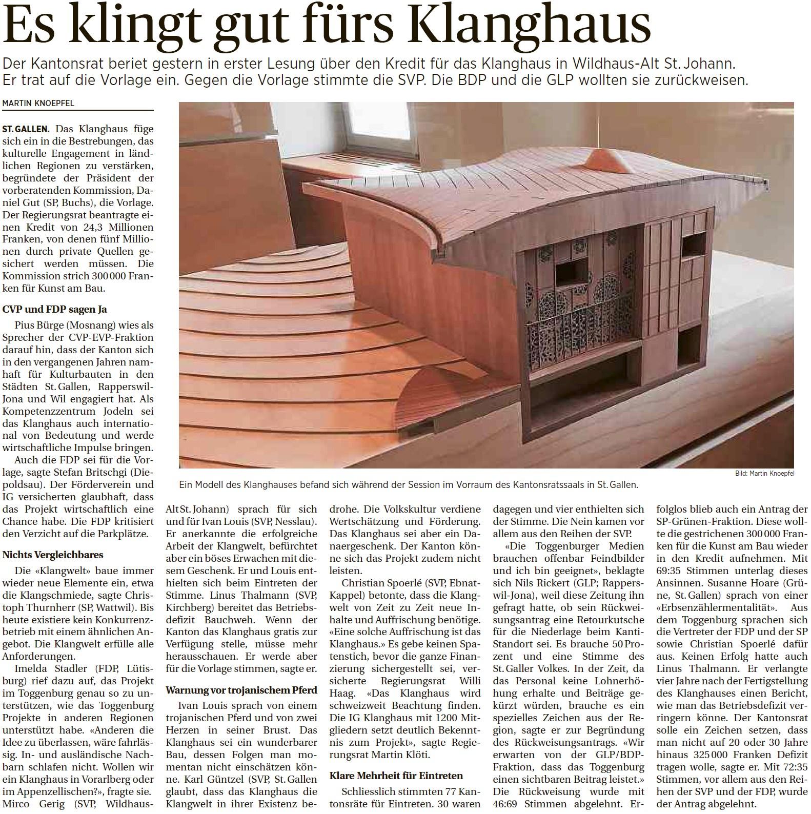 Es klingt gut fürs Klanghaus (Donnerstag, 03.12.2015)