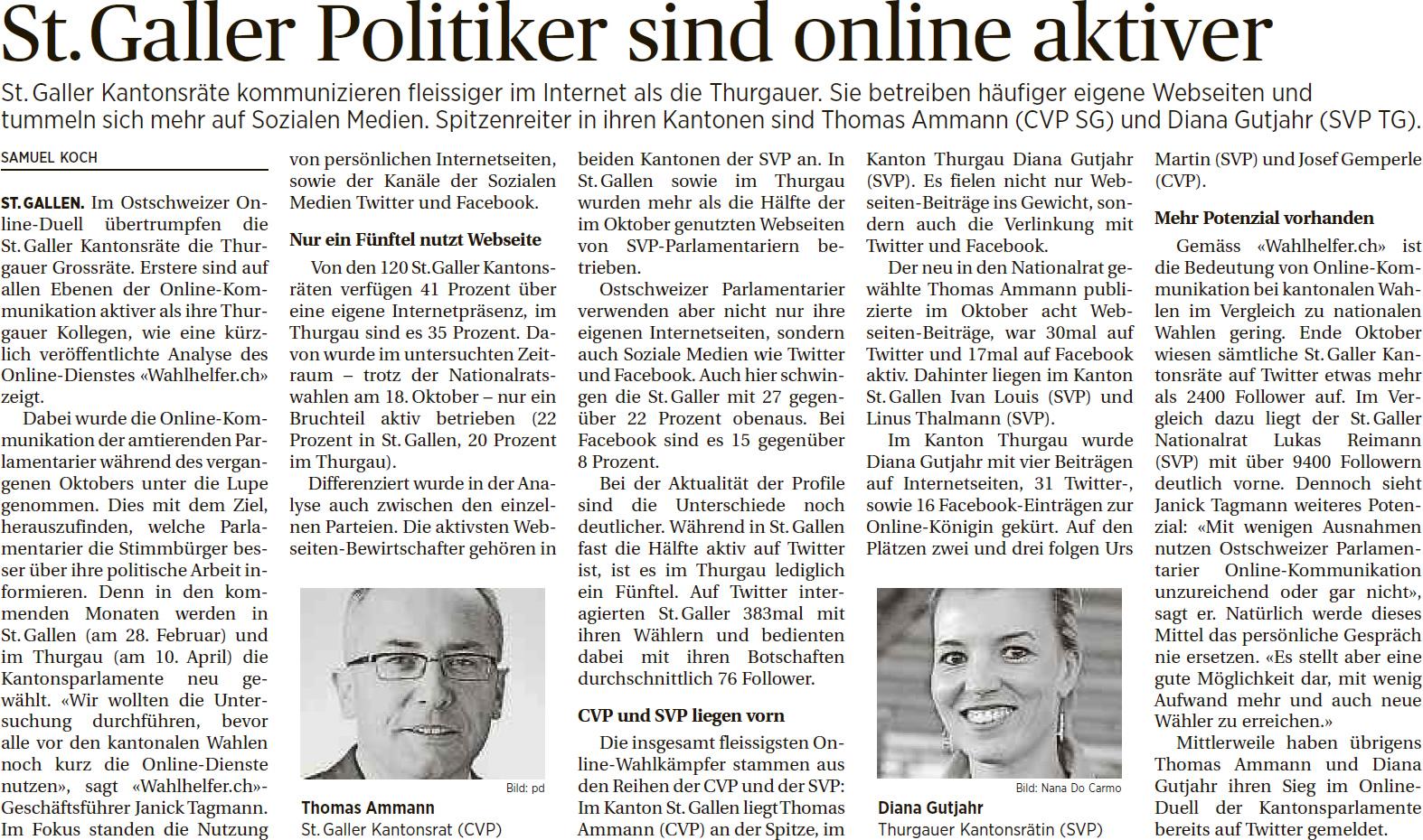 St. Galler Politiker sind online aktiver (Donnerstag, 14.01.2016)
