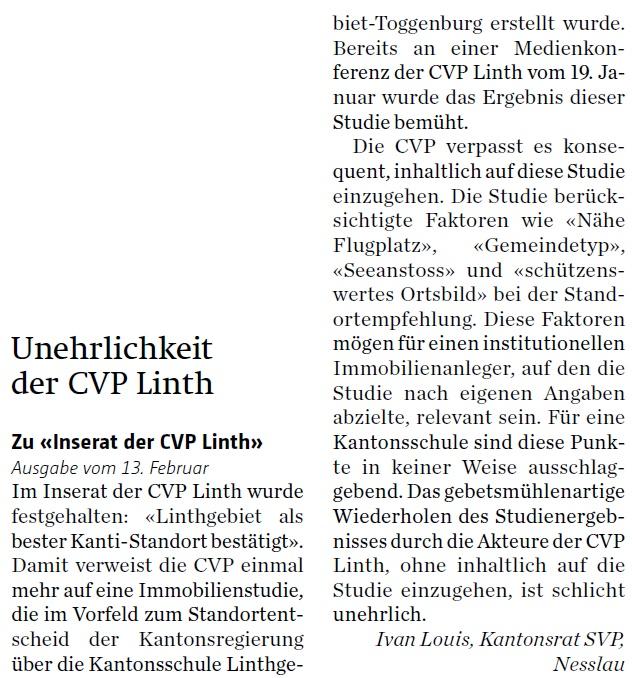 Unehrlichkeit der CVP Linth (Dienstag, 16.02.2016)