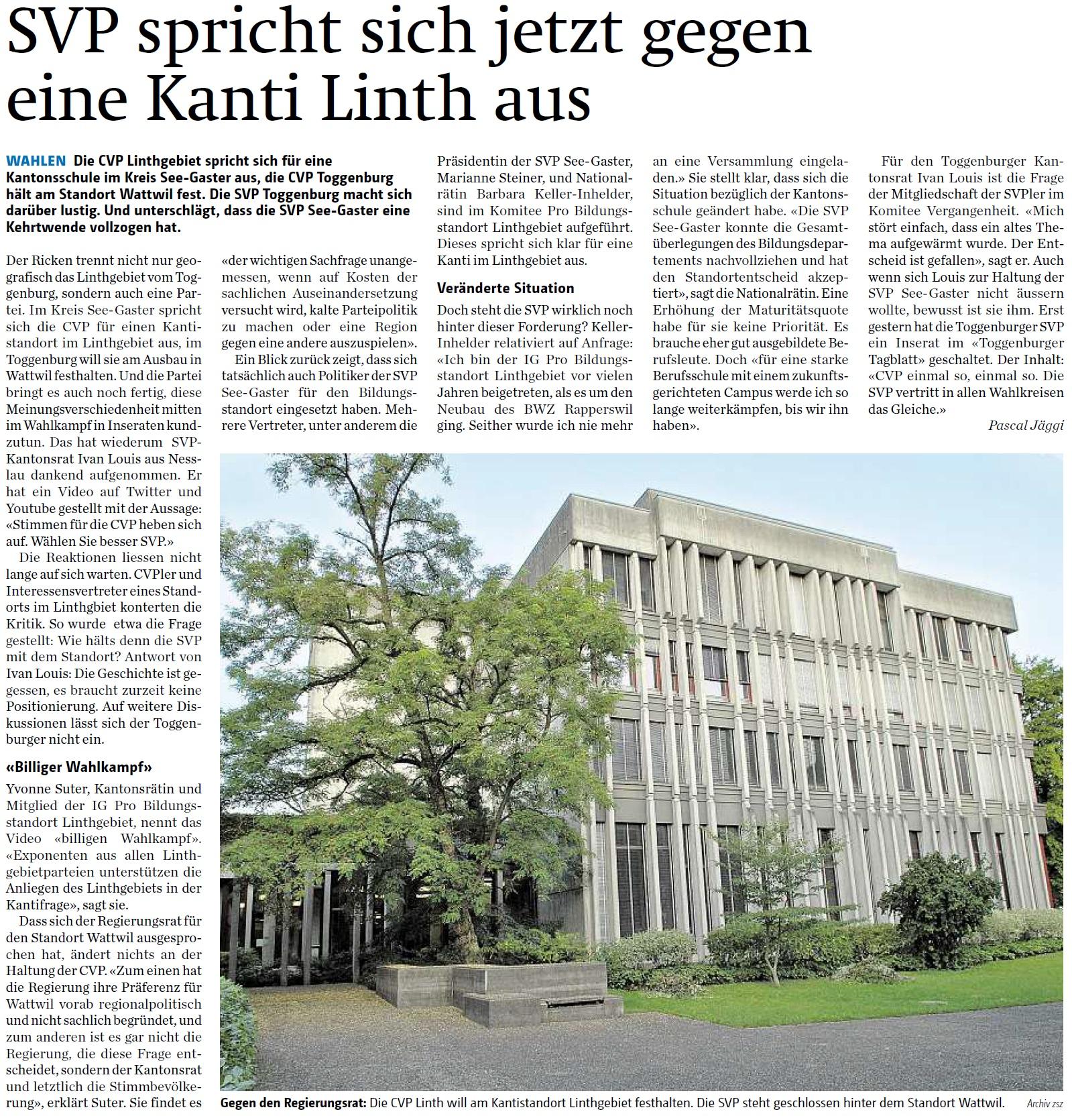 SVP spricht sich gegen eine Kanti Linth aus (Freitag, 19.02.2016)