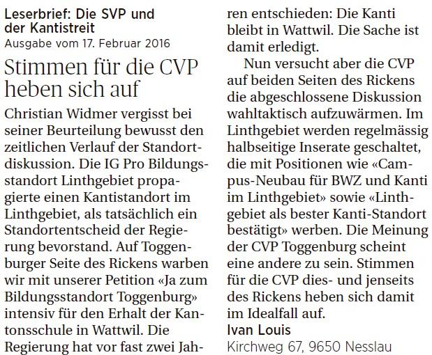 Stimmen für die CVP heben sich auf (Mittwoch, 24.02.2016)