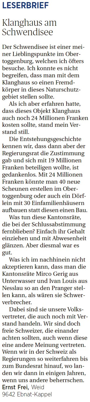 Klanghaus am Schwendisee (Donnerstag, 10.03.2016)