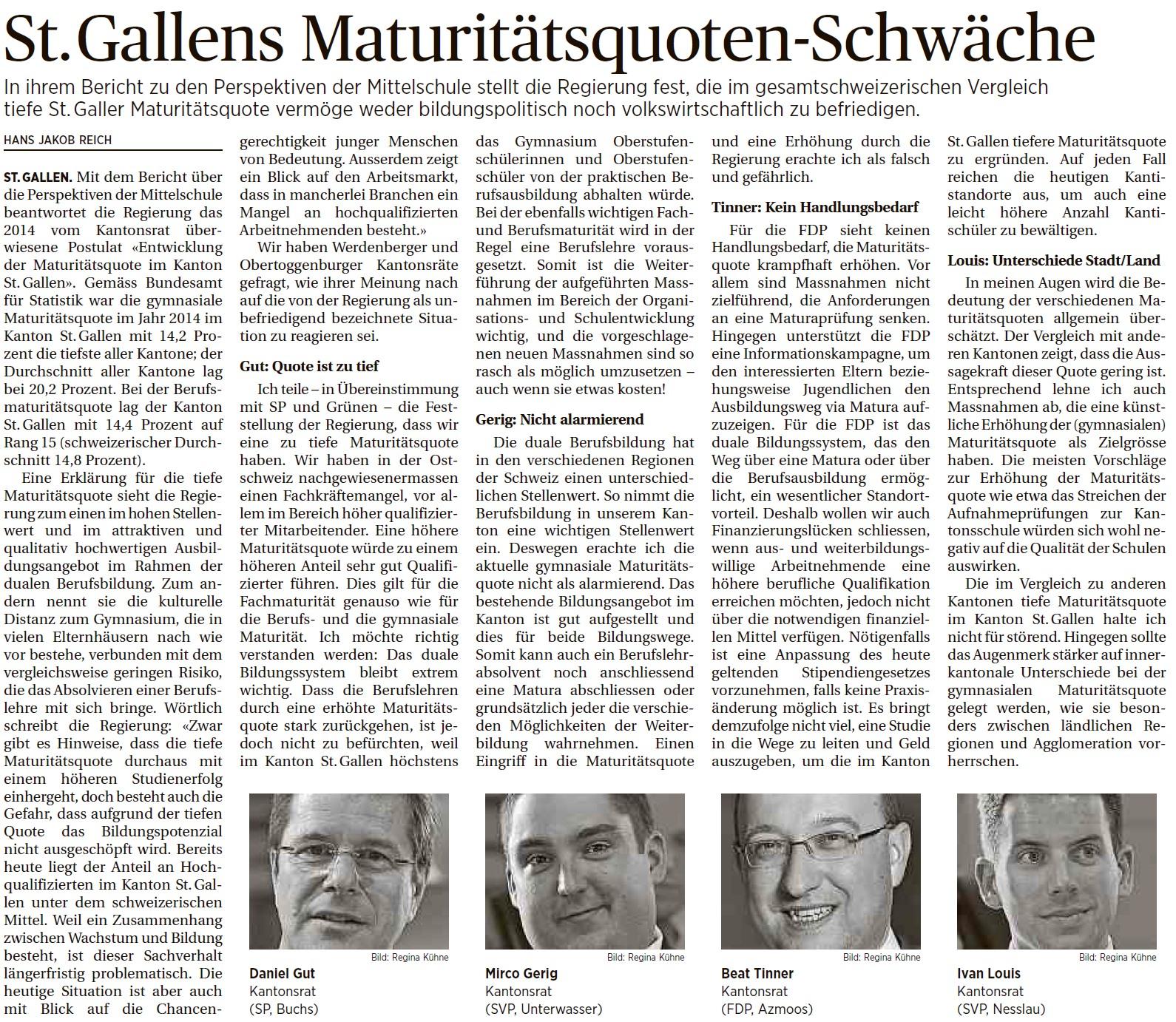 St. Gallens Maturitätsquoten-Schwäche (Dienstag, 26.04.2016)