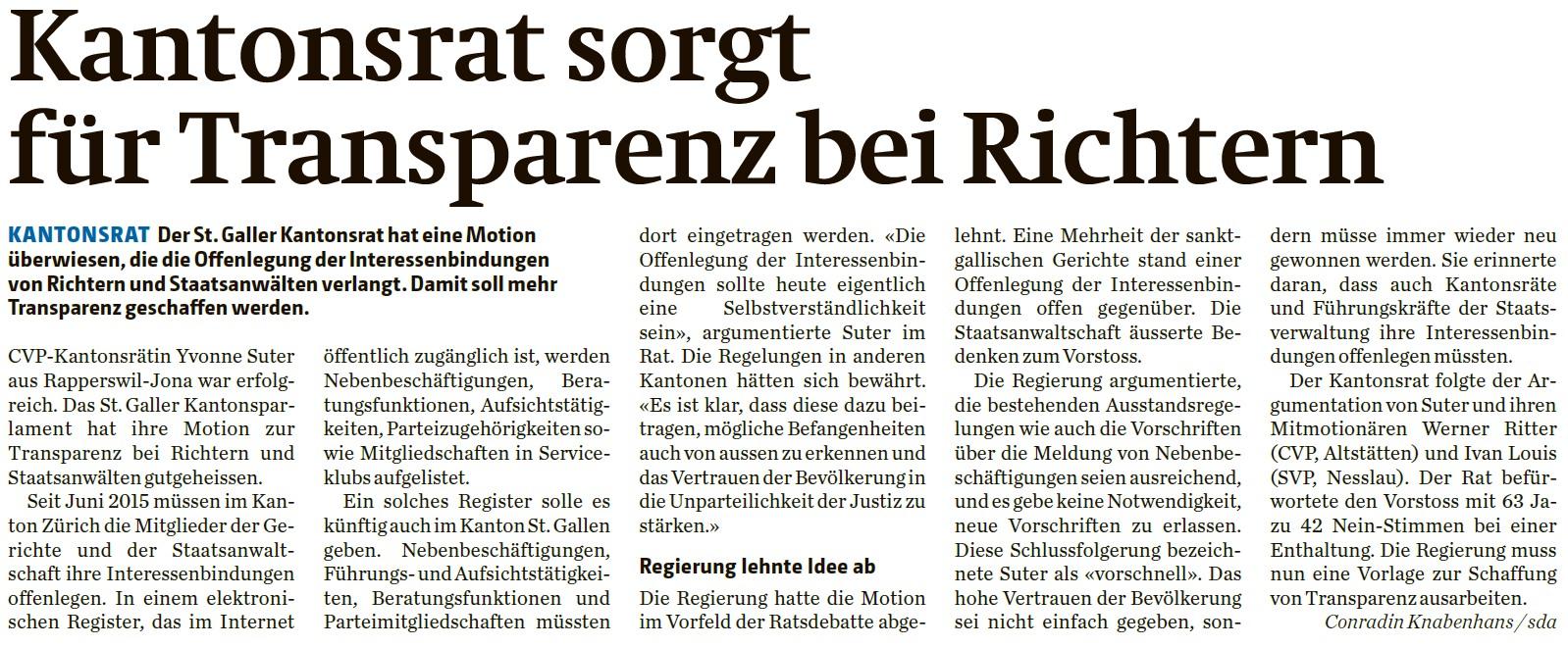 Kantonsrat sorgt für Transparenz bei Richtern (Mittwoch, 27.04.2016)