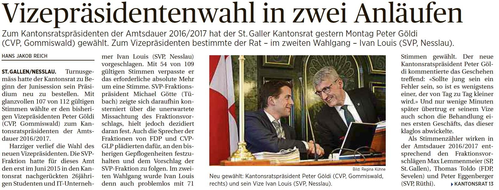 Wahl zum Kantonsratsvizepräsidenten (Montag, 06.06.2016)