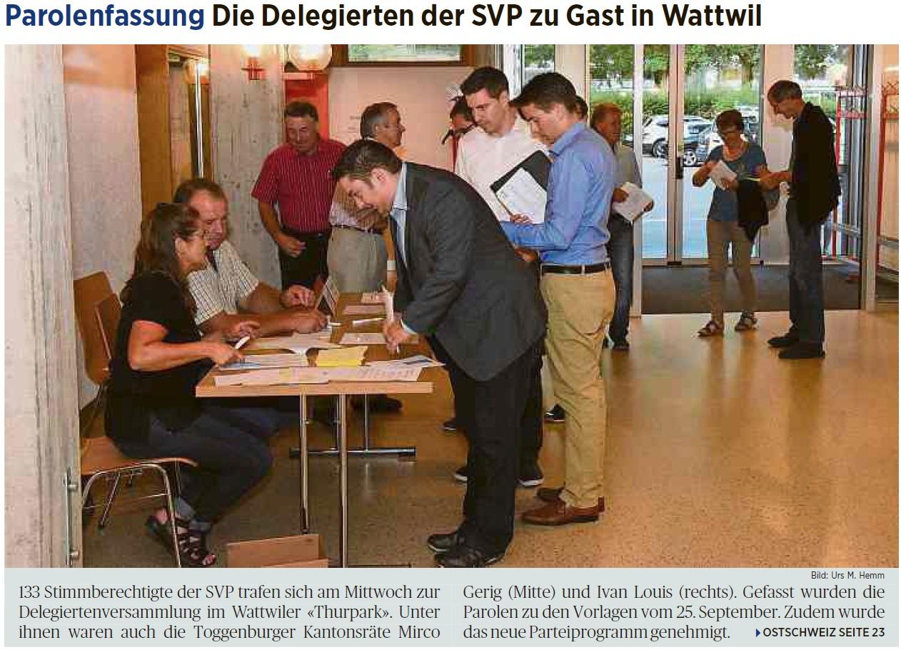 Parolenfassung: Die Delegierten der SVP zu Gast in Wattwil (Montag, 05.09.2016)