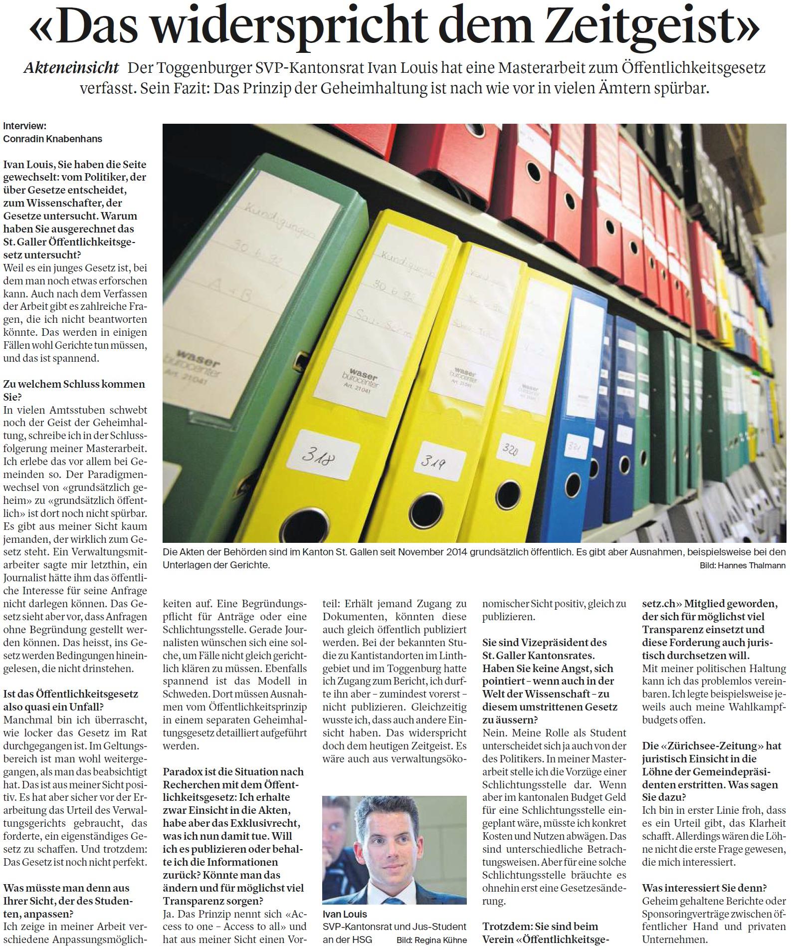 «Das widerspricht dem Zeitgeist» (Dienstag, 13.12.2016)