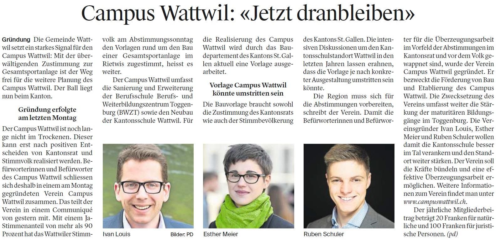 Campus Wattwil: «Jetzt dranbleiben» (Mittwoch, 24.05.2017)
