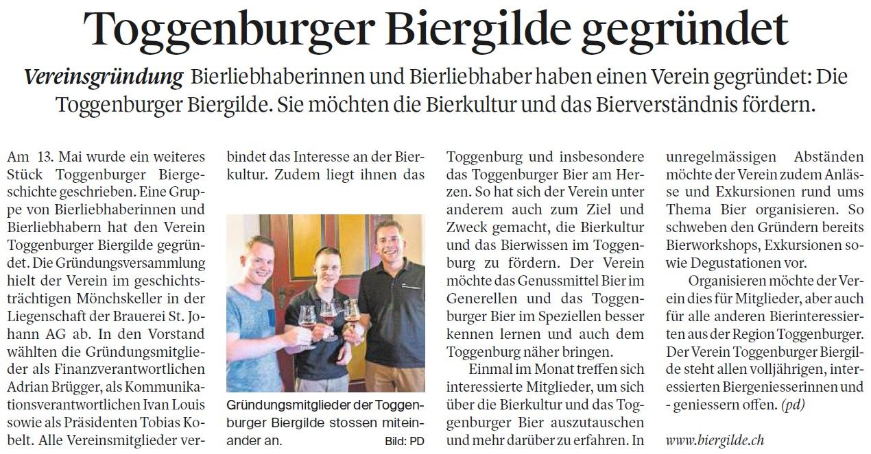 Toggenburger Biergilde gegründet (Montag, 29.05.2017)