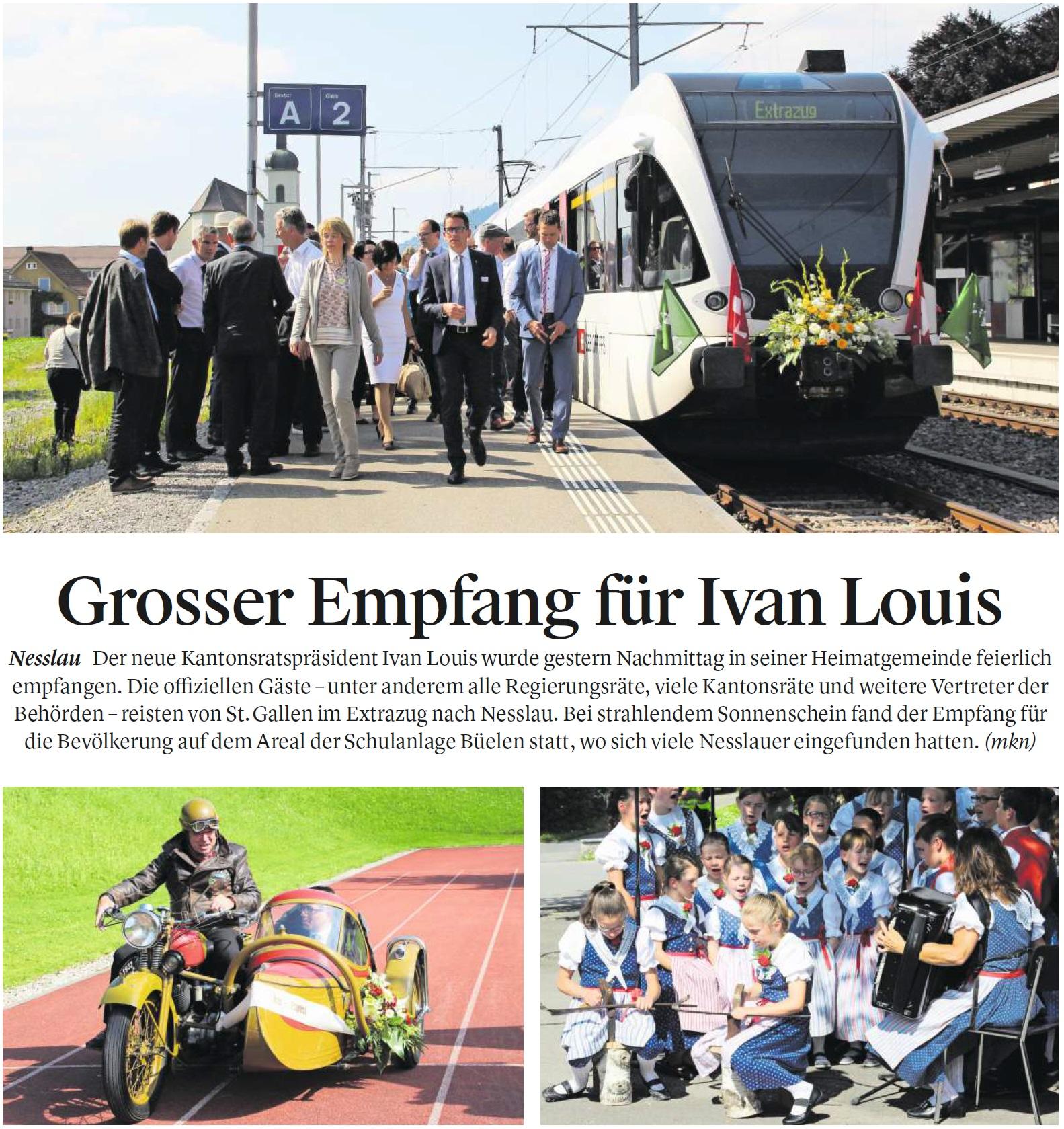 Grosser Empfang für Ivan Louis (Mittwoch, 14.06.2017)