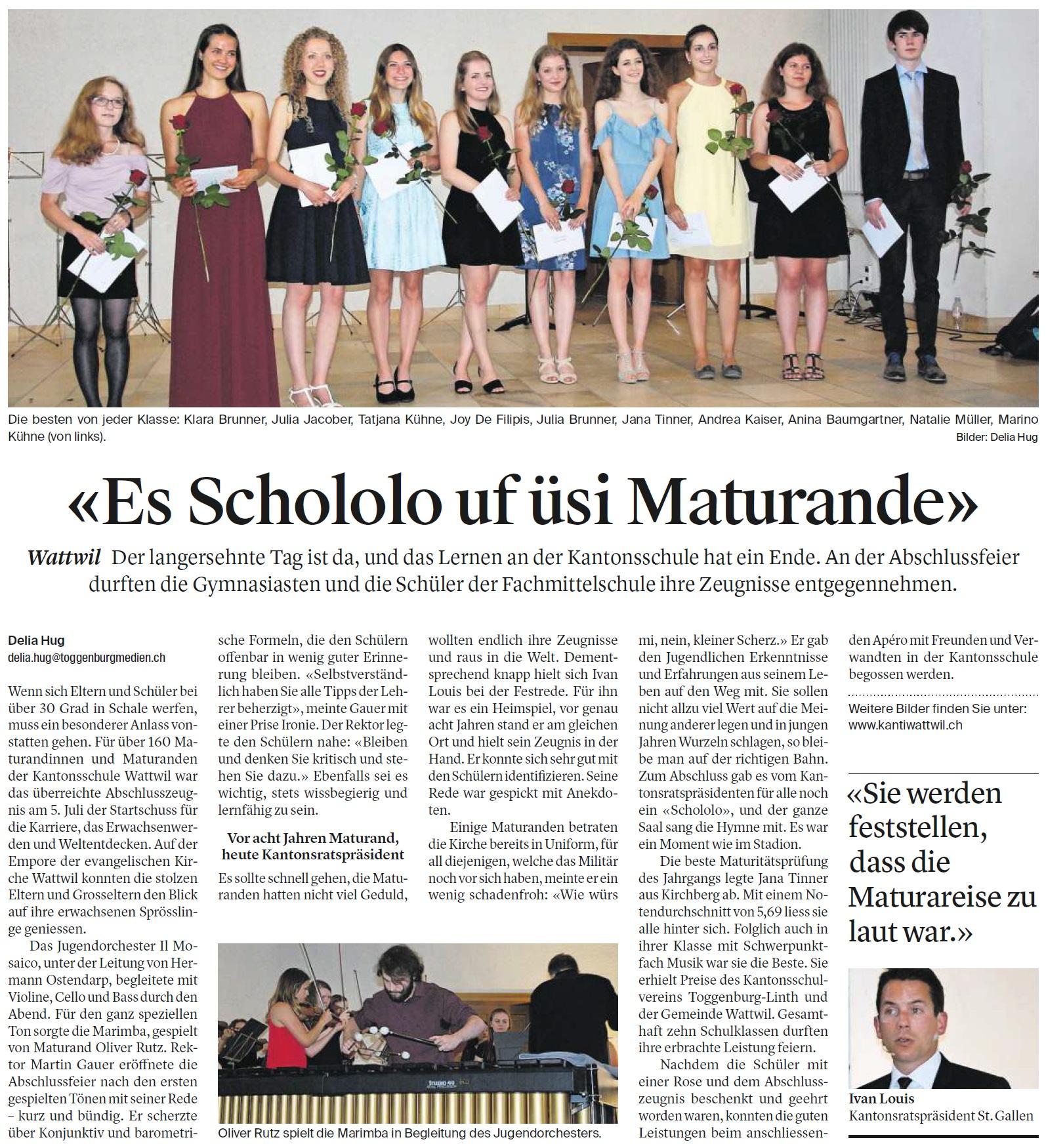 «Es Schololo uf üsi Maturande» (Freitag, 07.07.2017)