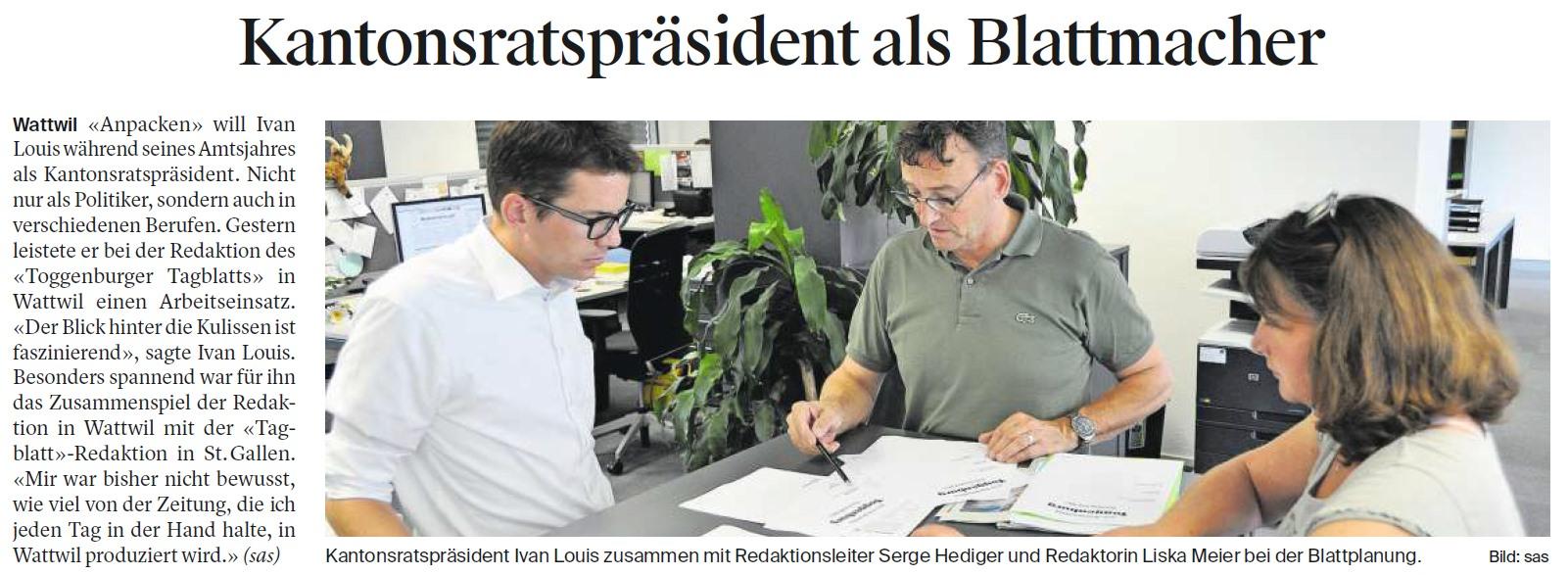 Kantonsratspräsident als Blattmacher (Dienstag, 29.08.2017)