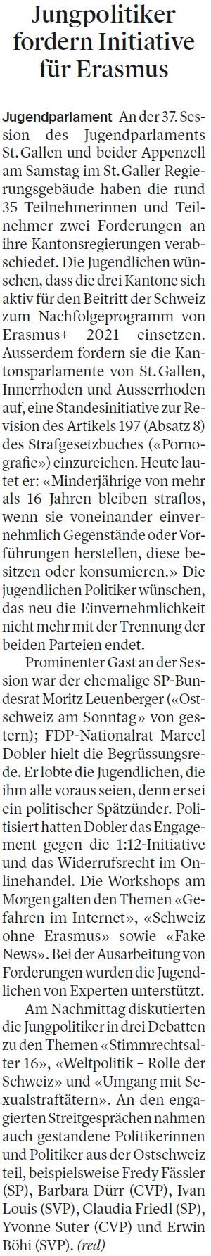 Jungpolitiker fordern Initiative für Erasmus (Montag, 06.11.2017)