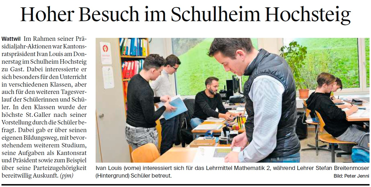 Hoher Besuch im Schulheim Hochsteig (Samstag, 18.11.2017)