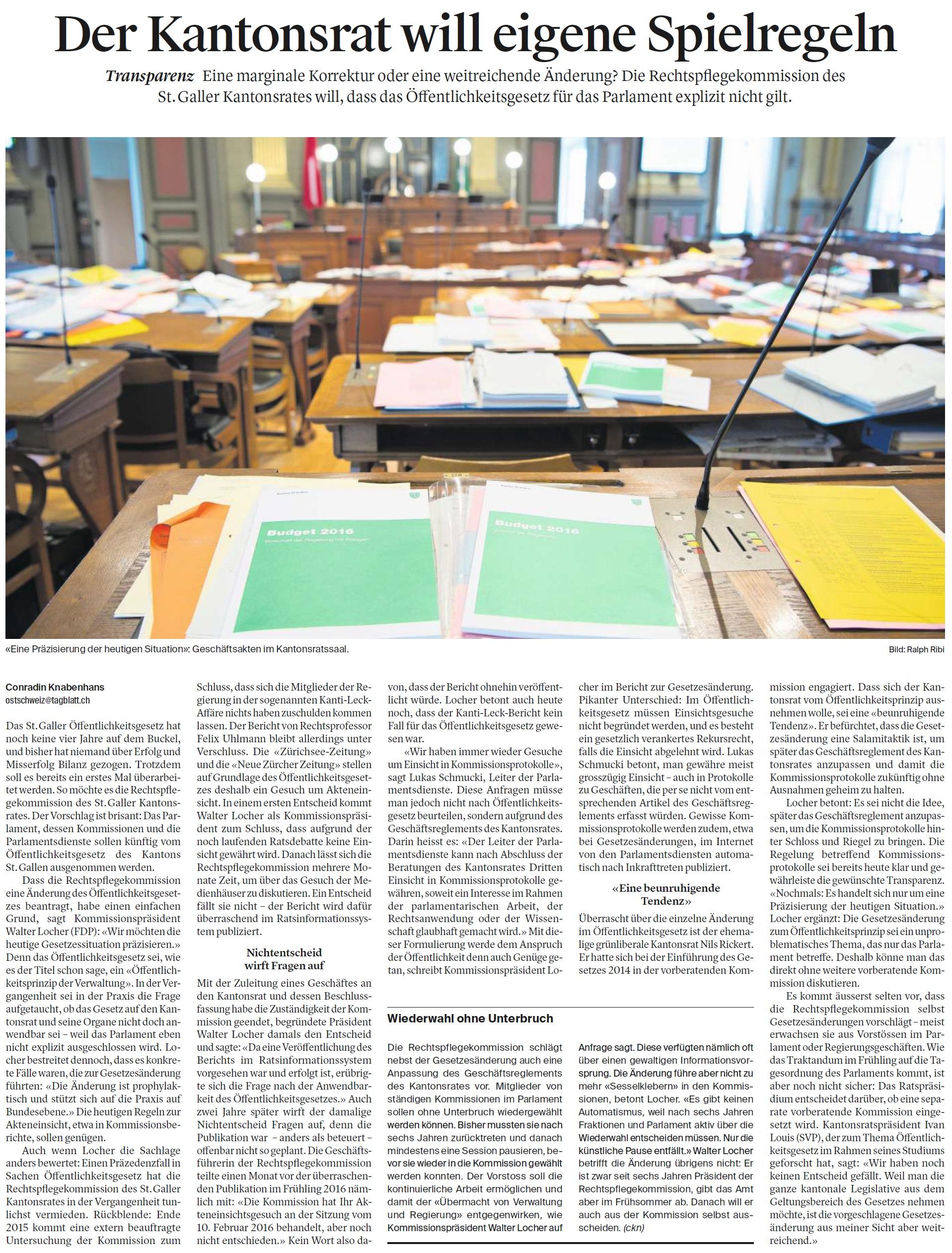 Der Kantonsrat will eigene Spielregeln (Samstag, 17.02.2018)