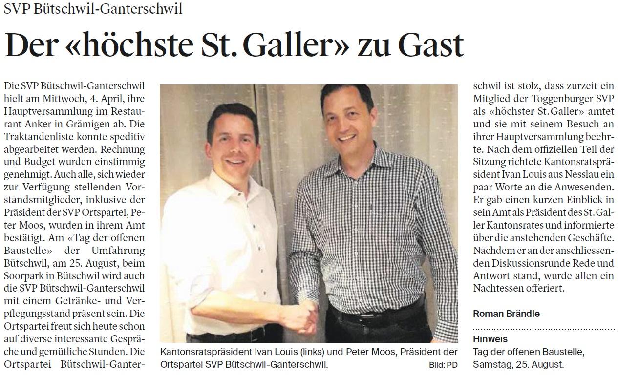 Der «höchste St.Galler» zu Gast (Dienstag, 10.04.2018)