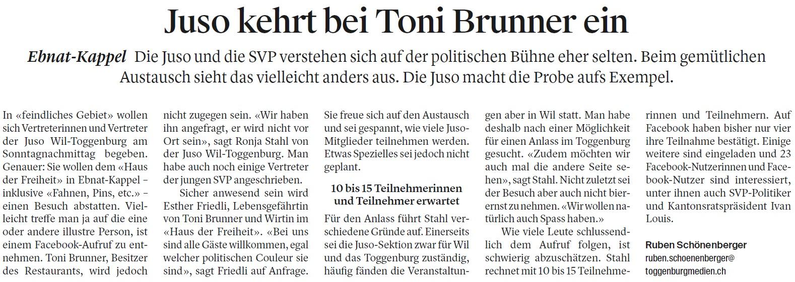 Juso kehrt bei Toni Brunner ein (Freitag, 27.04.2018)