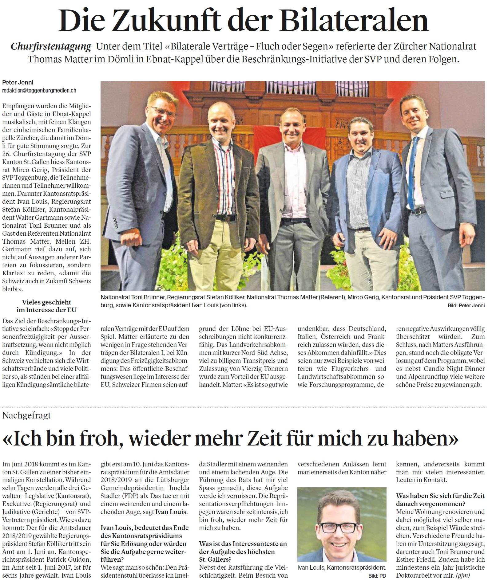 Die Zukunft der Bilateralen (Montag, 30.04.2018)