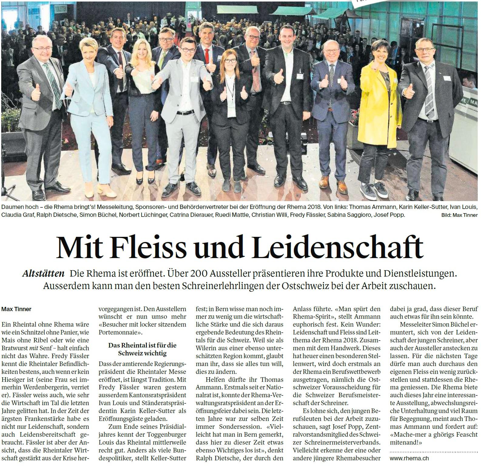 Mit Fleiss und Leidenschaft (Donnerstag, 03.05.2018)