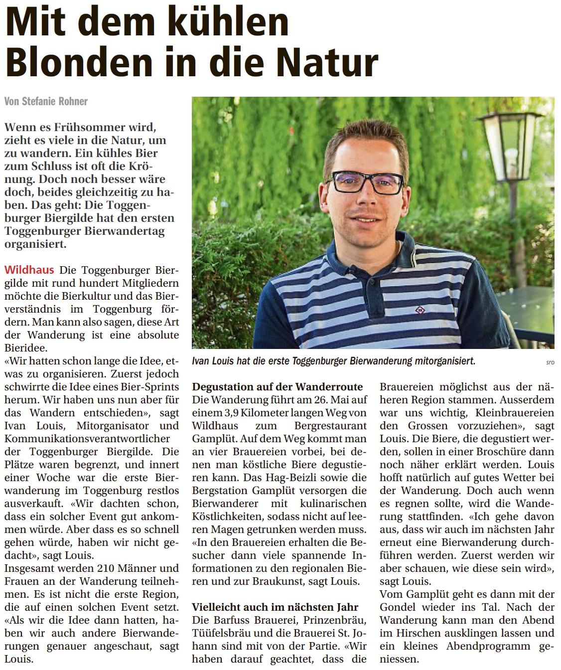 Mit dem kühlen Blonden in die Natur (Mittwoch, 16.05.2018)