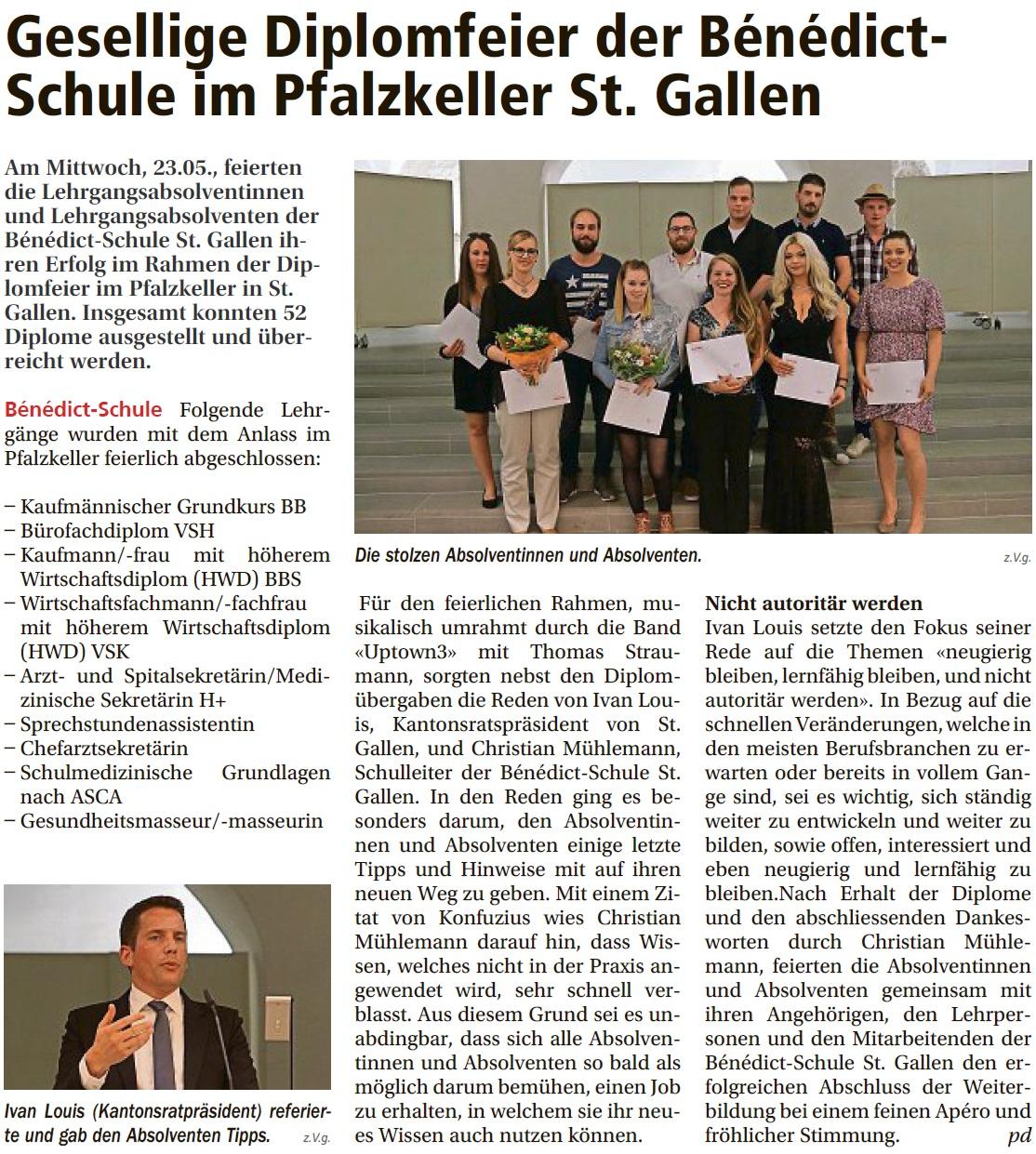 Gesellige Diplomfeier der Bénédict-Schule im Pfalzkeller St. Gallen (Mittwoch, 30.05.2018)