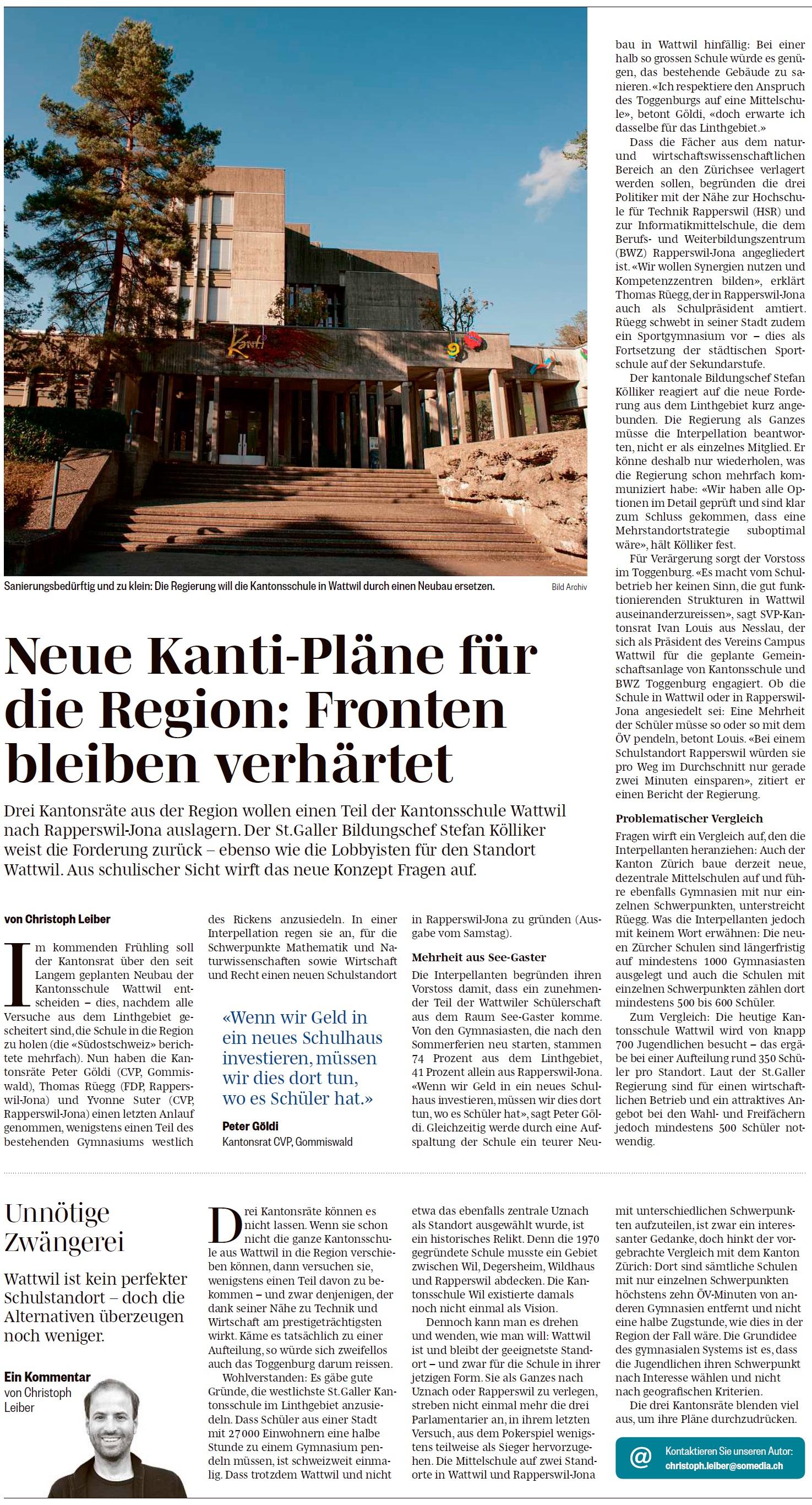 Neue Kanti-Pläne für die Region: Fronten bleiben verhärtet (Dienstag, 19.06.2018)