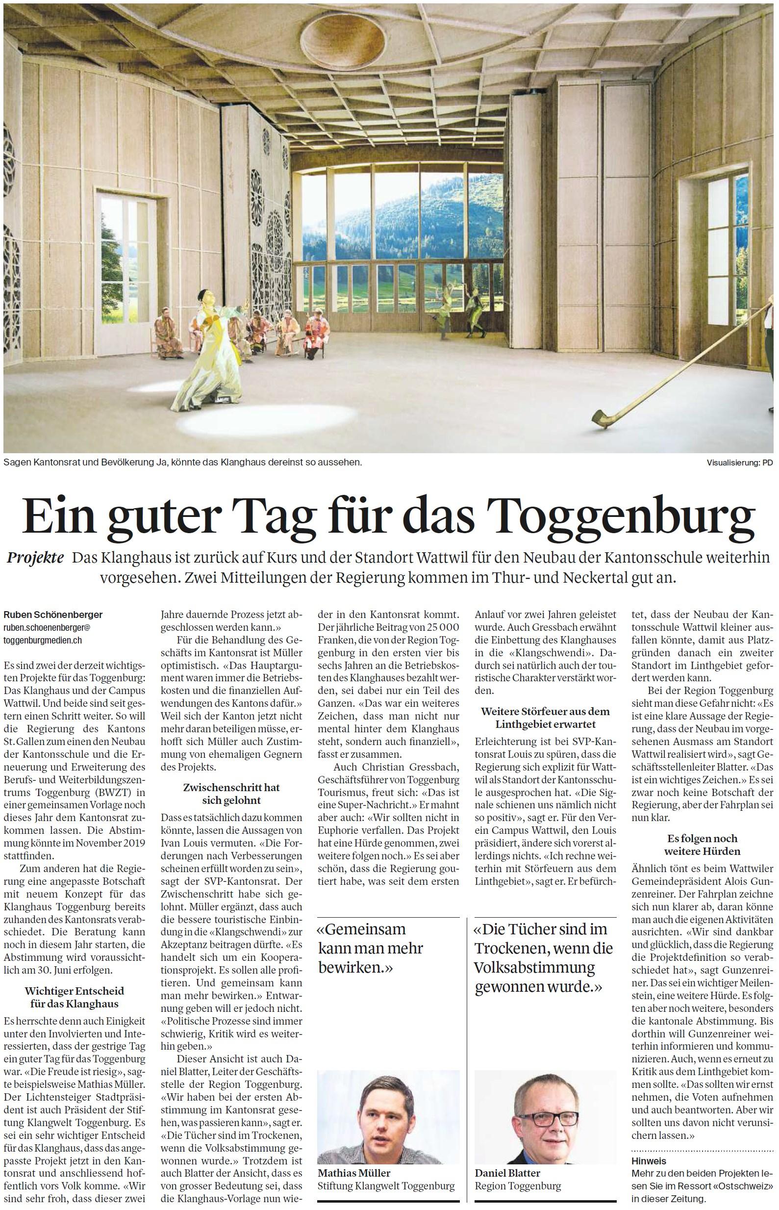 Ein guter Tag für das Toggenburg (Samstag, 18.08.2018)