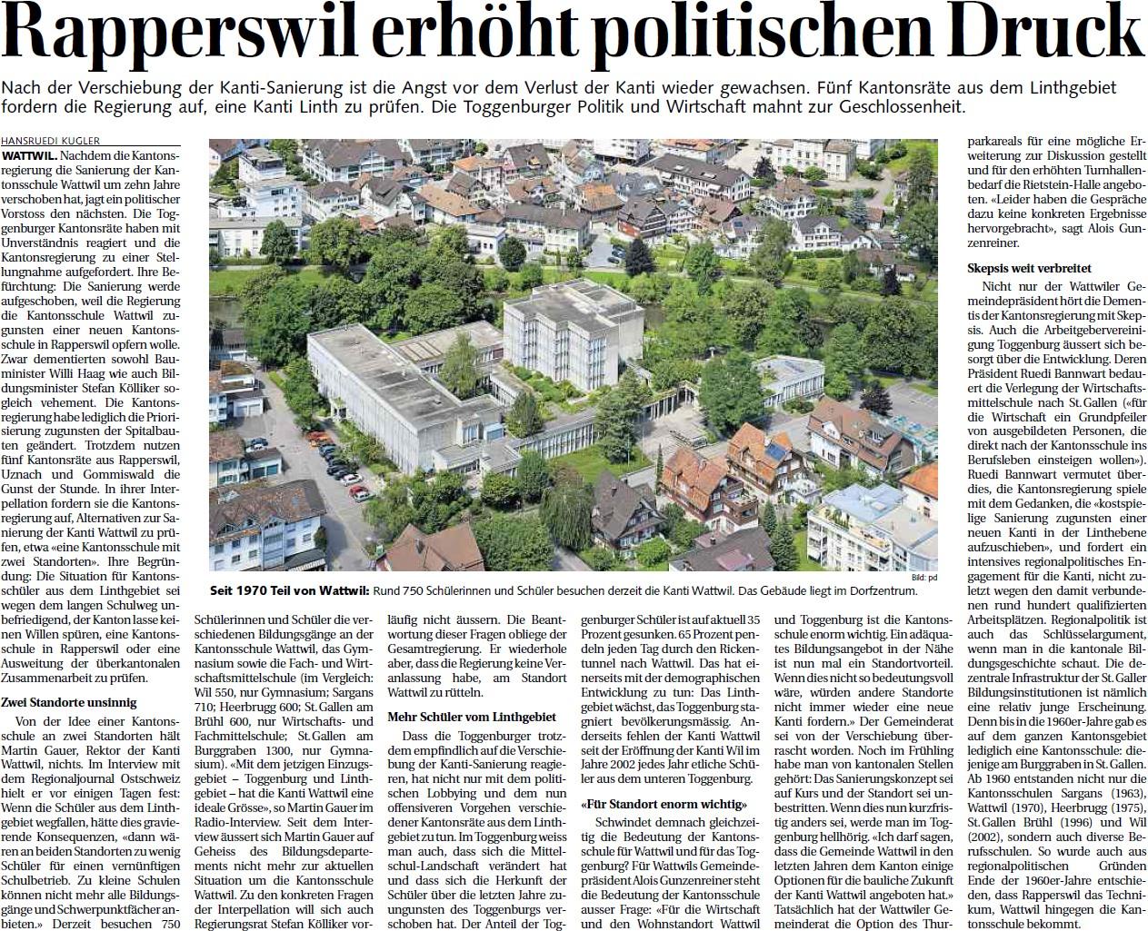 Zur Diskussion um den Schulstandort: Rapperswil erhöht politischen Druck (Mittwoch, 12.06.2013)
