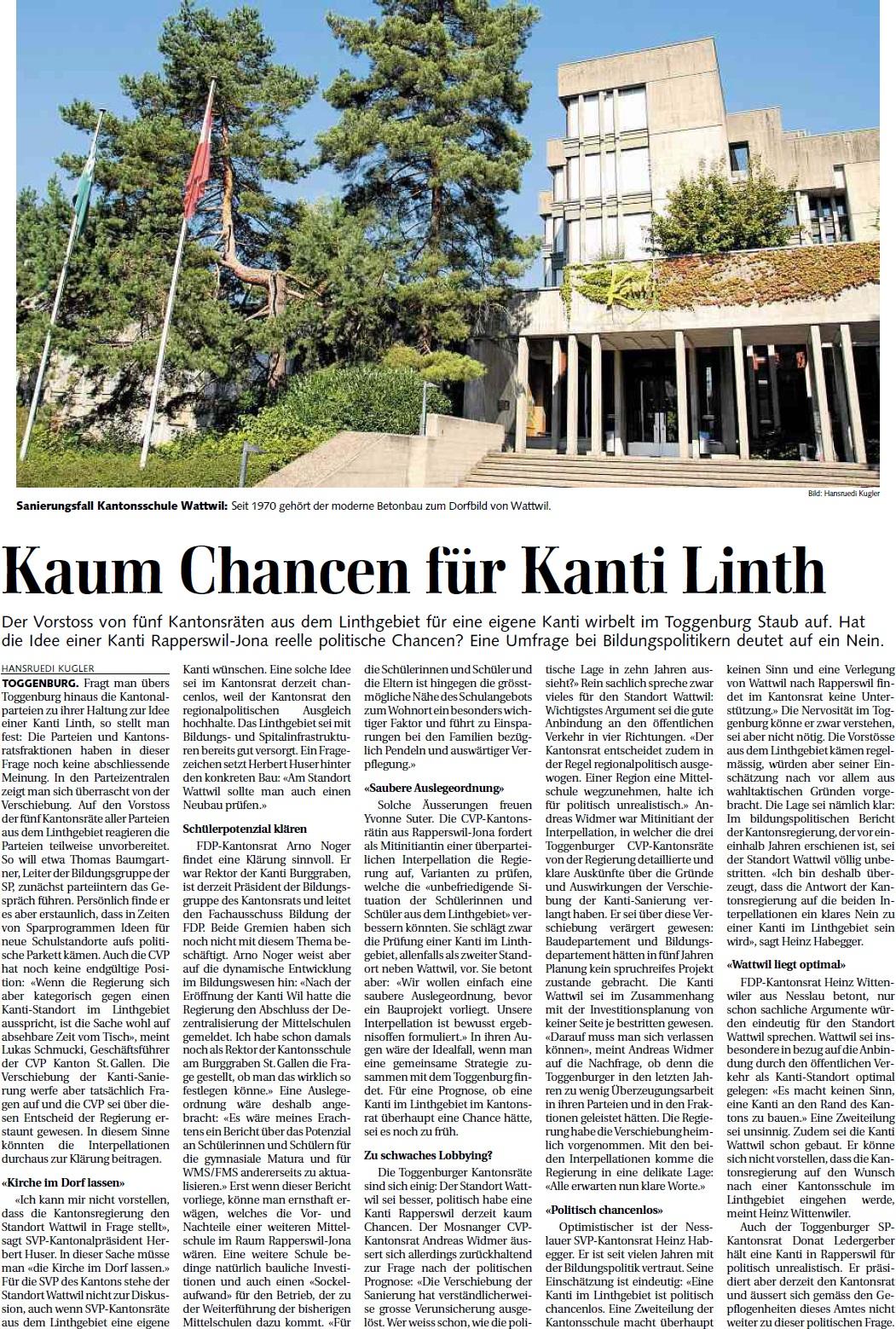 Kaum Chancen für Kanti Linth (Samstag, 15.06.2013)
