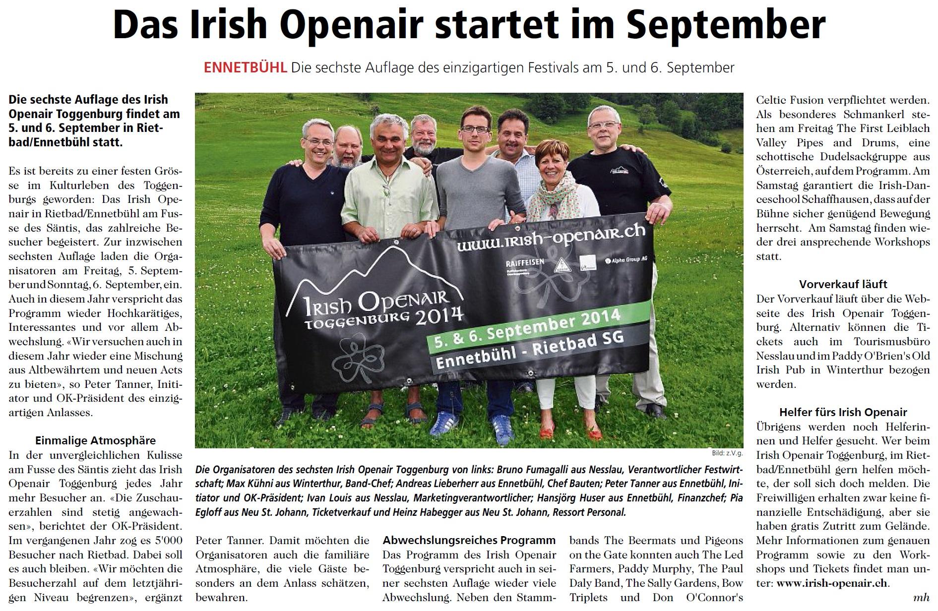 Das Irish Openair startet im September (Mittwoch, 02.07.2014)