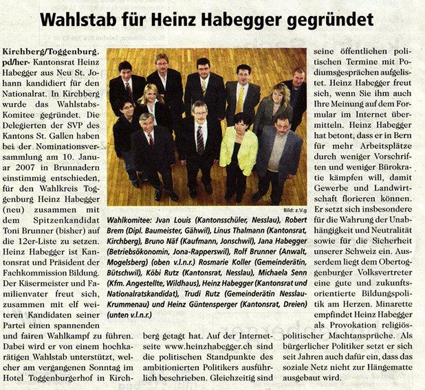 Wahlstab für Heinz Habegger gegründet (Montag, 05.03.2007)
