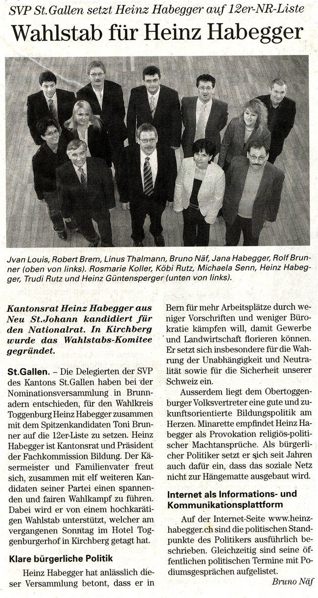 Wahlstab für Heinz Habegger (Freitag, 30.03.2007)
