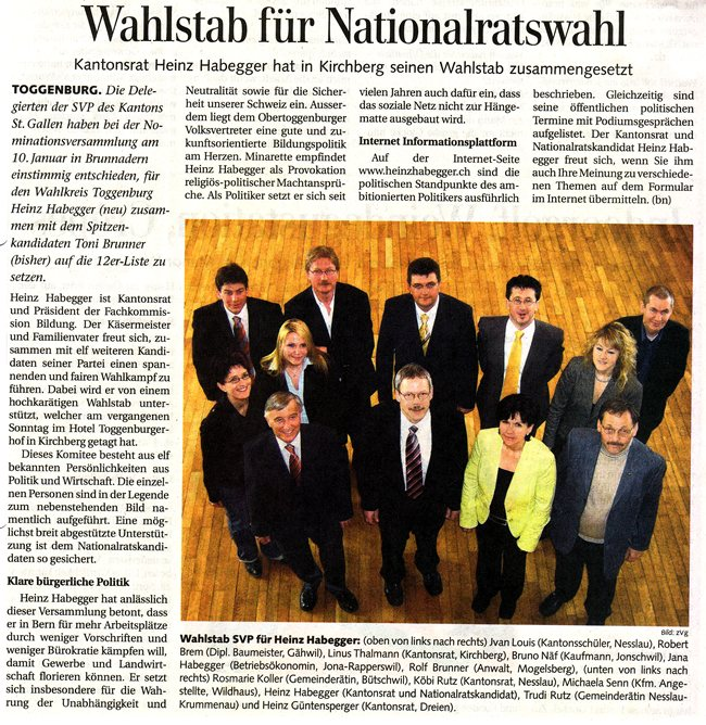 Wahlstab für Nationalratswahlen (Freitag, 30.03.2007)