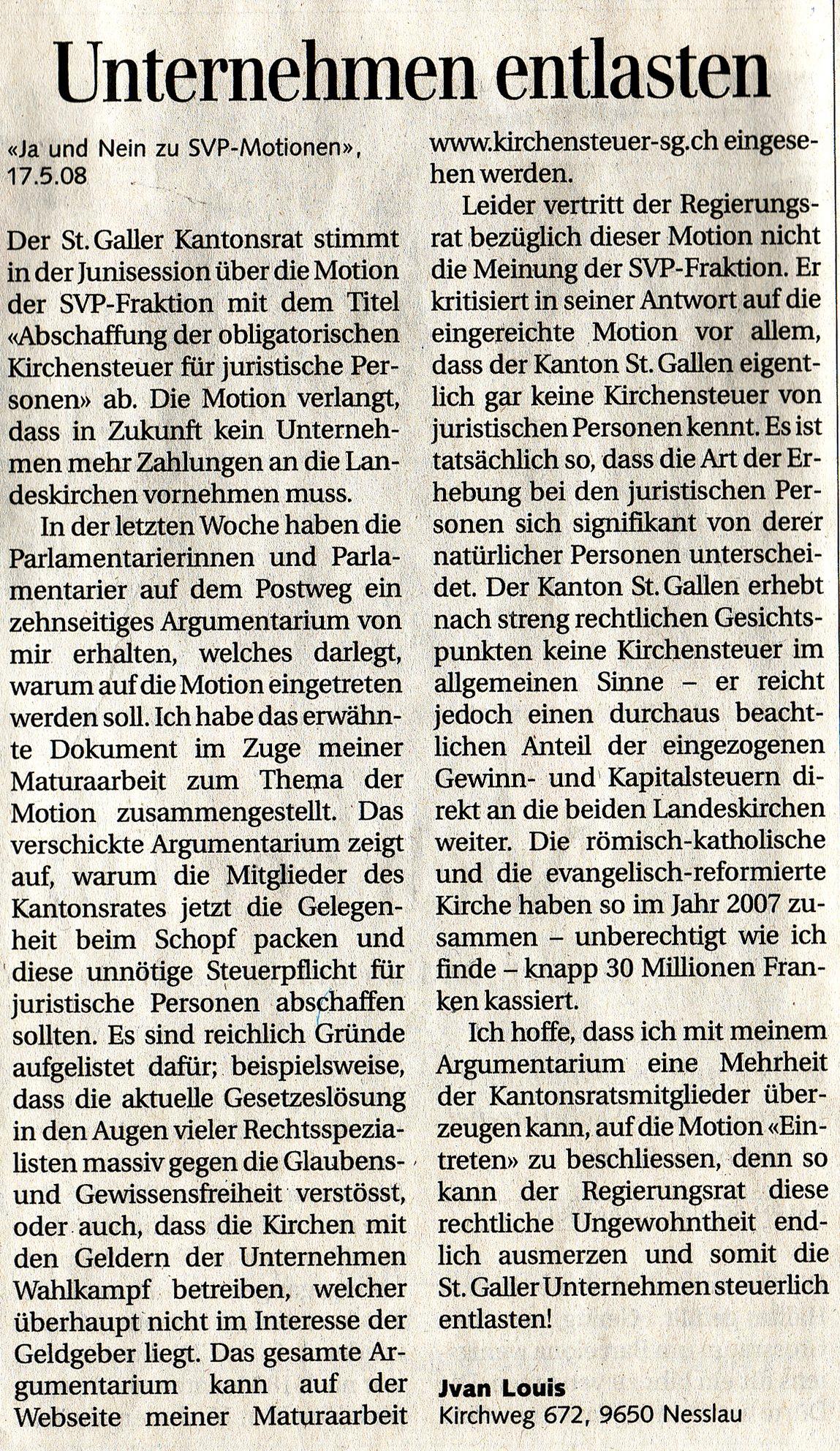 Unternehmen entlasten (Freitag, 30.05.2008)