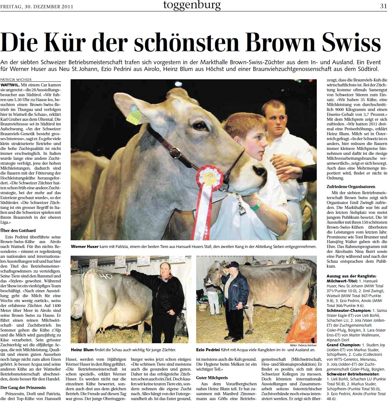 Die Kür der schönsten Brown Swiss (Freitag, 30.12.2011)