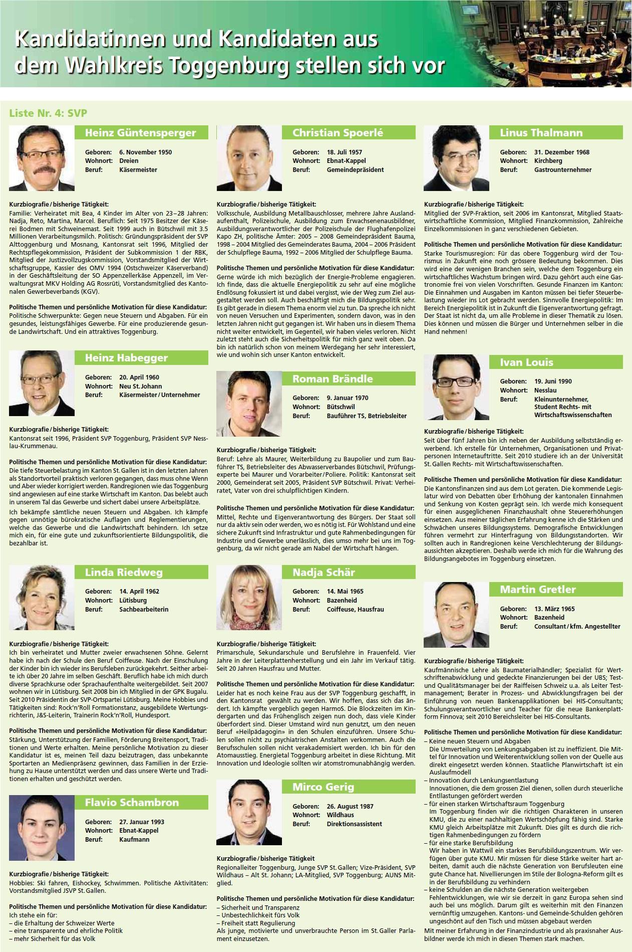 Beilage Toggenburger Nachrichten / Toggenburger Tagblatt mit Kantonsratskandidaten (Freitag, 10.02.2012)