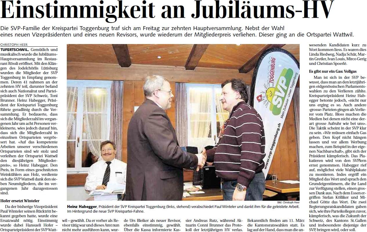 Einstimmigkeit an Jubiläums-HV (Montag, 13.02.2012)