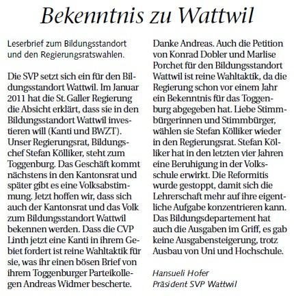 Leserbrief von Hansueli Hofer: Vernunft abseits vom Wahlkampf (Mittwoch, 29.02.2012)