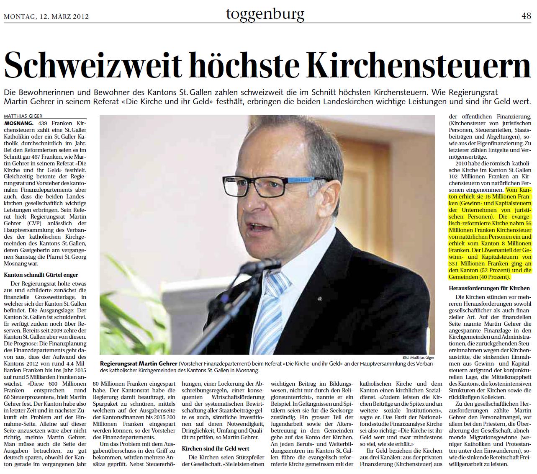 Schweizweit höchste Kirchensteuern (Montag, 12.03.2012)