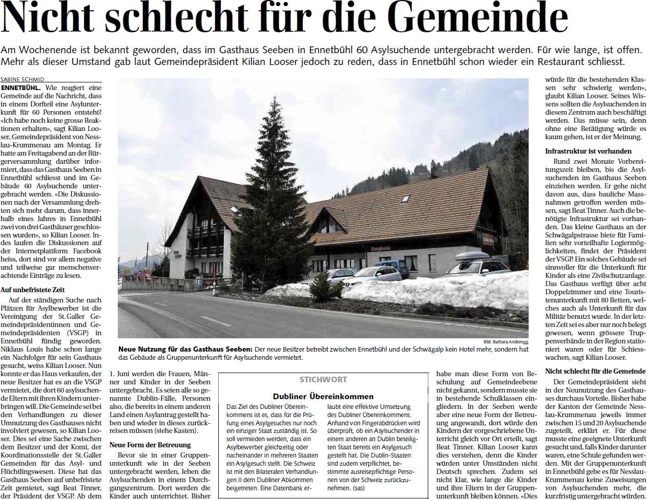 Nicht schlecht für die Gemeinde (Dienstag, 27.03.2012)